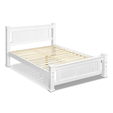 Classic Design Pine Wood Queen Size Bed Frame White