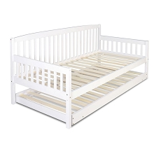 Wooden Single Bed Frame with Trundle White