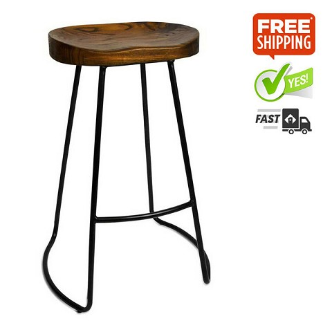 Steel Stools with Wooden Seat Set of 2