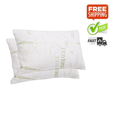 Set of 2 Bamboo Shredded Memory Foam Pillows with Fabric Covers