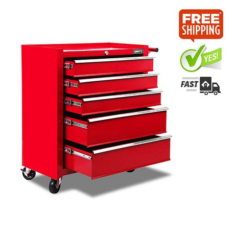5 Drawer Heavy Duty Roller Toolbox Cabinet Red