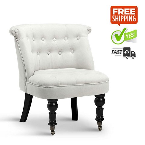 French Provincial Lorraine Accent Chair Linen Fabric White