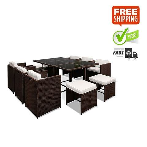 Capetown Outdoor Dining 10 Seater Set Brown & White
