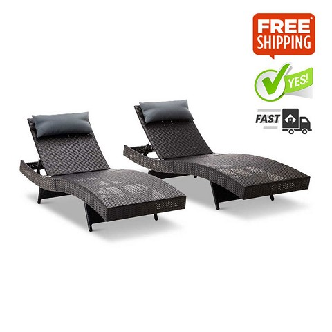 Set of 2 Outdoor Sun Lounges Black with Lavender Grey Pillow