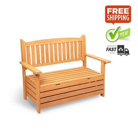 Stylish & Sturdy Indoor or Outdoor Wooden Storage Bench