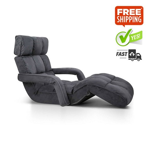 Single Size Lounge Chair with Arms Charcoal