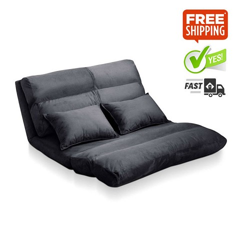 Double Size Adjustable Lounge Sofa - 5 positions Charcoal