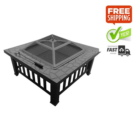 Outdoor Fire Pit BBQ Grill Stone Pattern