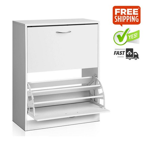 Simply & Stylish 2 Door Shoe Cabinet White