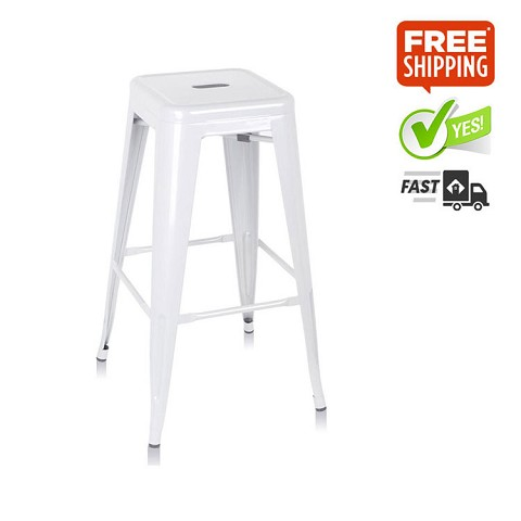Steel Kitchen Bar Stool 76cm White Set of 2