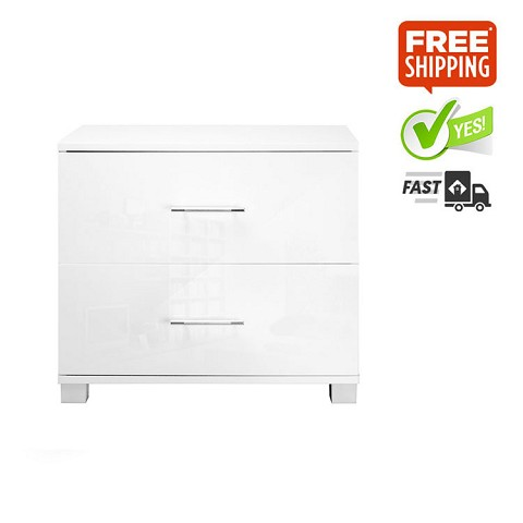 High Gloss Two Draws Bedside Table White