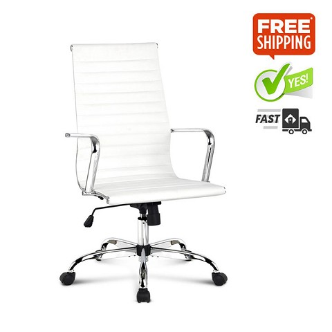 Eames Replica PU Leather High Back Chair White