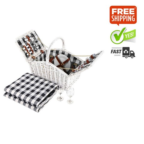 Willow Two Person Picnic Basket with Picnic Rug