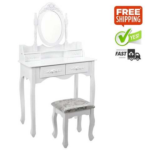 Lux 4 Drawer Dressing Table with Mirror White