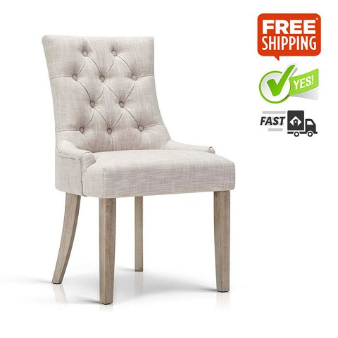 Elegant Tufted French Provincial Dining Chair Beige