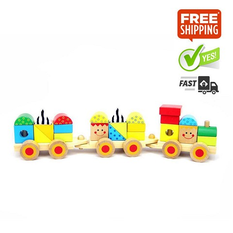 TOOKY TOY Wooden Block Train