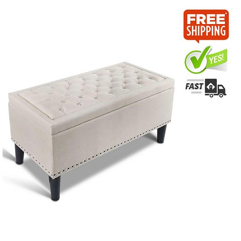 Faux Linen Tufted Storage Ottoman Taupe