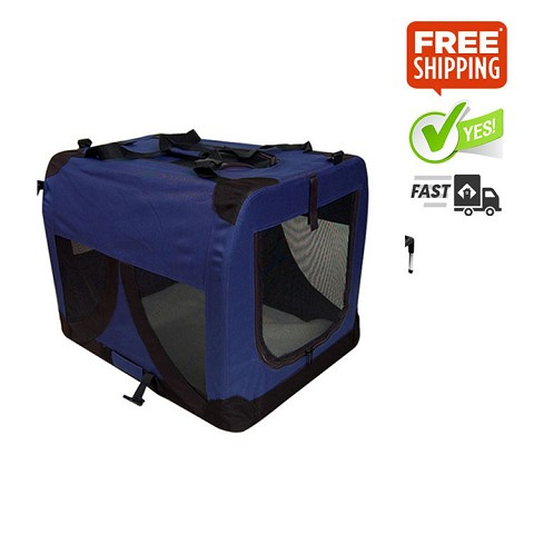 Large Portable Soft Dog Crate Cage Kennel Blue