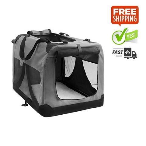 Extra Large Portable Soft Dog Crate Cage Kennel Grey