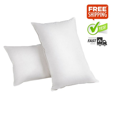Set of 2 Duck Feather Down Pillows with Bag