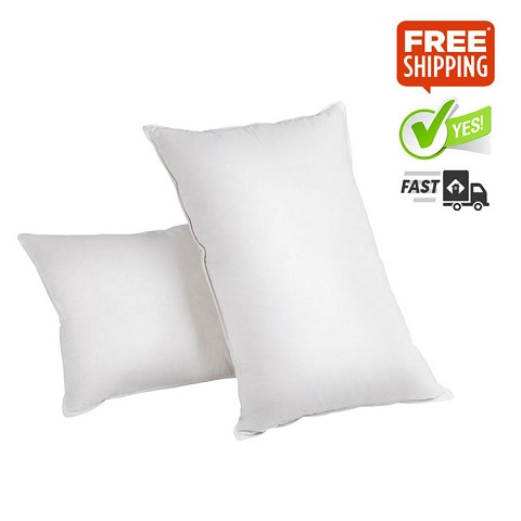 Set of 2 Goose Feather & Down Pillows