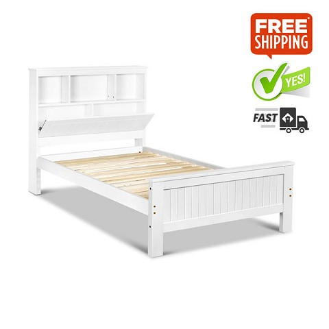 King Single Wooden Bedframe with Storage Shelf White