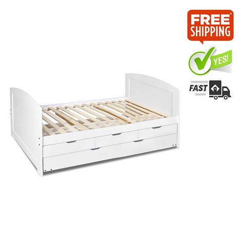 Wooden Single Bed Frame With Trundle Drawers White