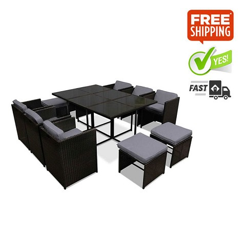 Capetown Outdoor Dining 10 Seater Set Black & Grey