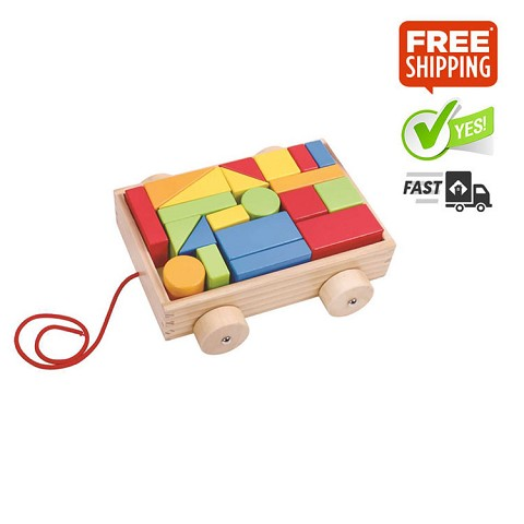 TOOKY TOY Mini Block and Roll Cart