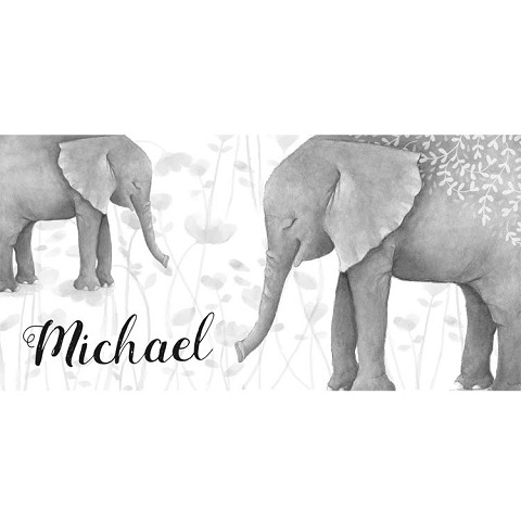 Personalised Name Sign - Elephant Watercolour Mono