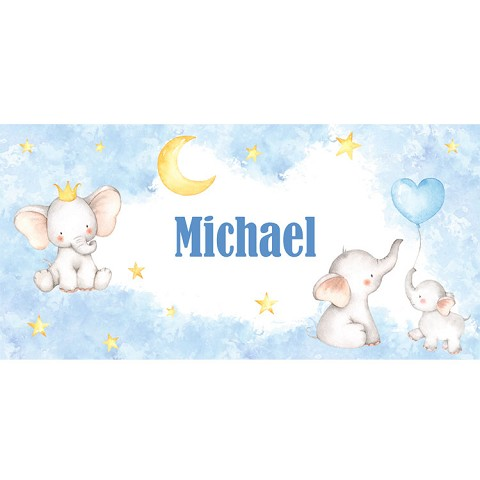 Personalised Name Sign - Baby Elephants Blue