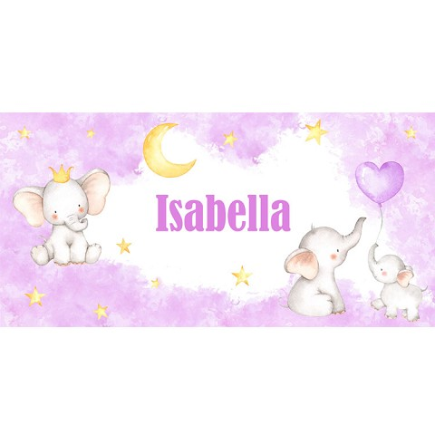 Personalised Name Sign - Baby Elephants Pink