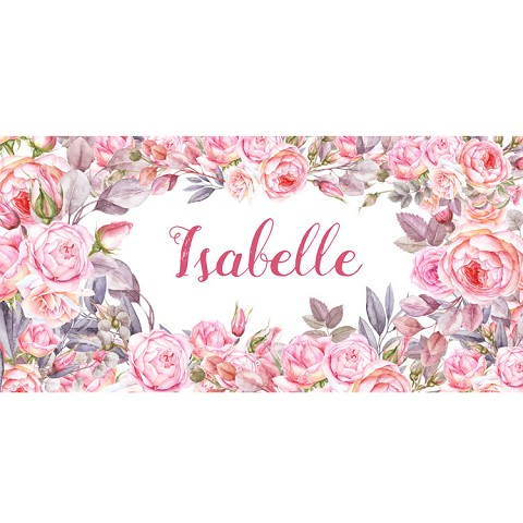 Personalised Name Sign - Floral Pink Roses