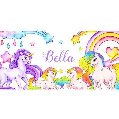 Personalised Name Sign - Unicorn Rainbows II