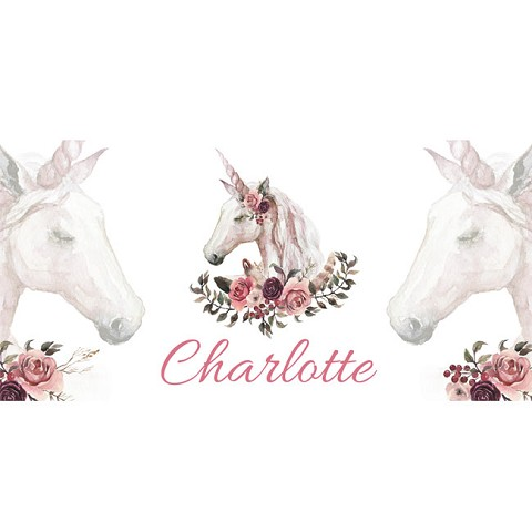 Personalised Name Sign - Unicorn Flowers