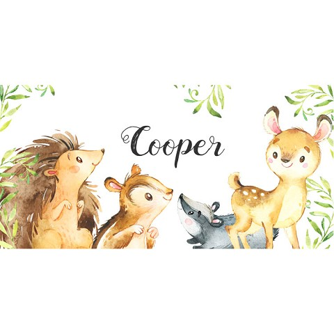Personalised Name Sign - Forest Animals White