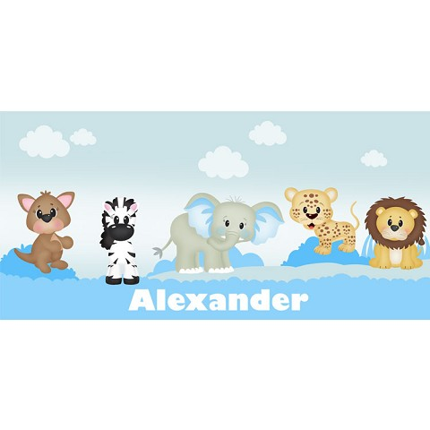 Personalised Name Sign - Baby Blue Zoo