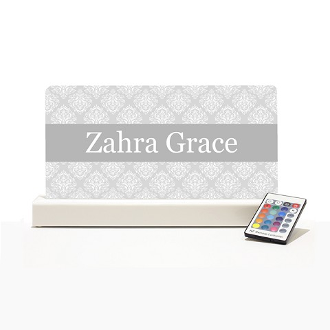 Personalised Night Light - Grey & White Elegance