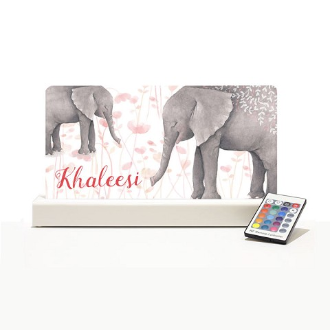 Personalised Night Light - Elephant Watercolour Print