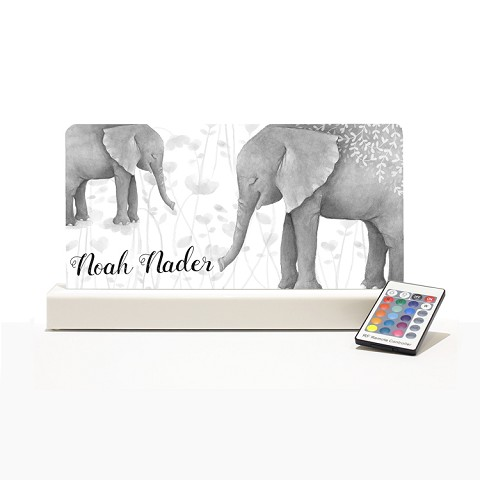 Personalised Night Light - Elephant Watercolour Mono
