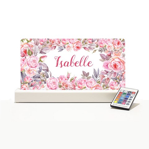 Personalised Night Light - Floral Pink Roses