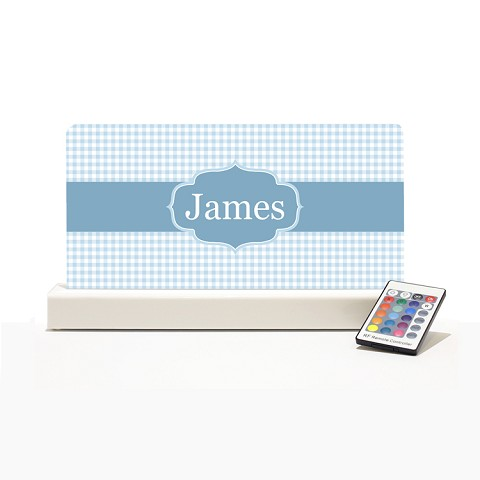 Personalised Night Light - Blue Checker Elegance