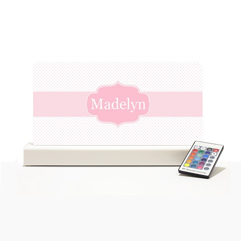 Personalised Night Light - Pink Dots Elegance