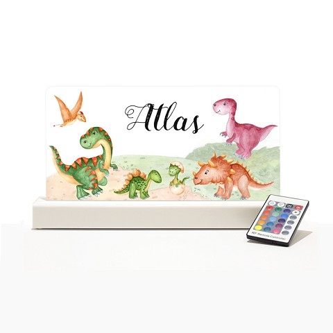 Personalised Night Light - Dinosaurs Watercolour