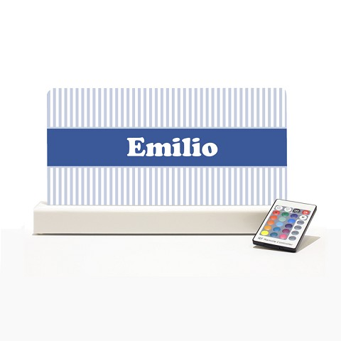 Personalised Night Light - White & Light Blue Stripes II