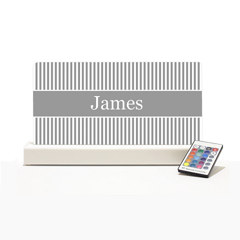 Personalised Night Light - Grey & White stripes