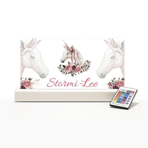 Personalised Night Light - Unicorn Flowers