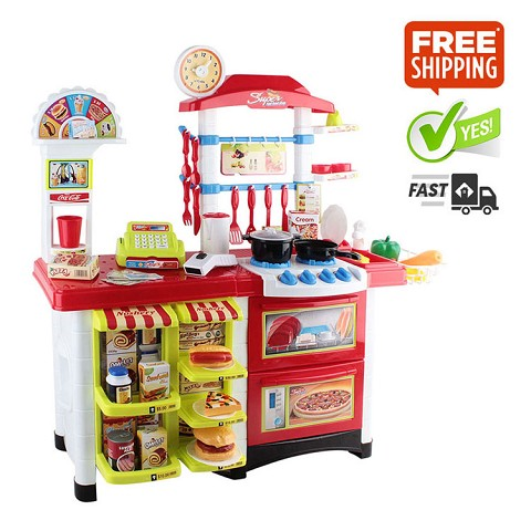Kitchen Supermarket Pretend Play Set Red White
