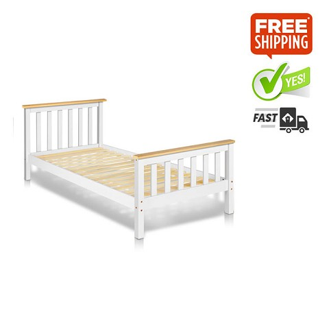 Classic Pine Wood Single Size Bed Frame White